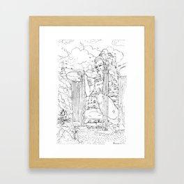 La Citta' sulla Cascata Framed Art Print