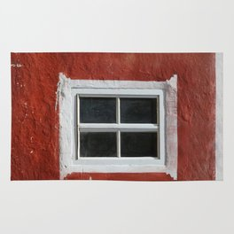 Red and White Window Rug