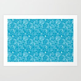 Seashells and Starfish - Blue and White Art Print