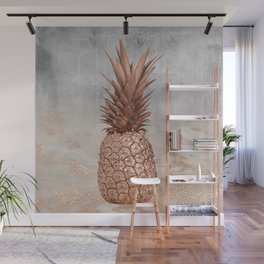 Pineapple in Glitter Marble Rose Gold And Concrete Wall Mural