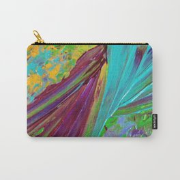 COLOR CHAOS Wild Vibrant Colorful Abstract Acrylic Painting Lime Green Plum Purple Gift Art Decor Carry-All Pouch