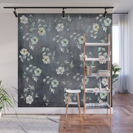 White Flowers and Grey Leaves Wall Mural
