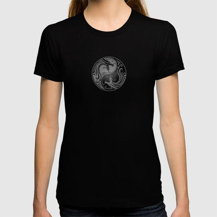 Gray and Black Yin Yang Dragons T-shirt