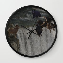 The Gathering Place - Wildlife Scene Wall Clock