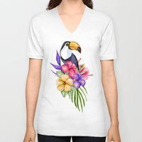 toucan V-neck T-shirts featuring Toucan by Julia Badeeva