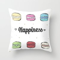 macaroons Throw Pillows featuring Macaroons by AshleyRose