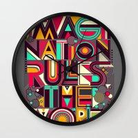 imagination Wall Clocks featuring IMAGINATION by dzeri29