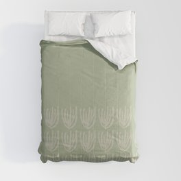 Abstract Mesh Wildflower Cuff Pattern in Sage and Beige Comforters