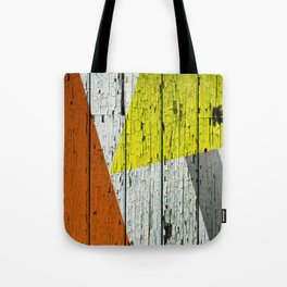 Old Wood Wall painted in Orange Yellow and Grey Tote Bag