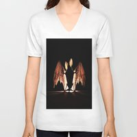 bat V-neck T-shirts featuring bat by new art