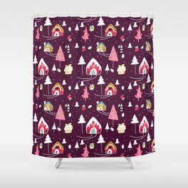 gingerbread house Purple #Christmas #Holiday Shower Curtain