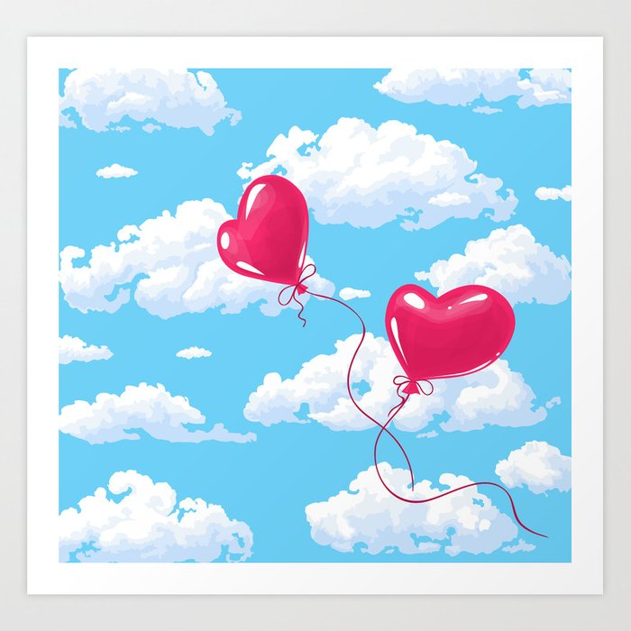 Two heart shaped red balloons Art Print
