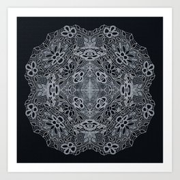 Crocheted Lace Mandala Art Print