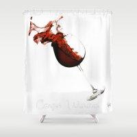 carpe Shower Curtains featuring Carpe Vinum by Xchange Art Studio