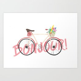 Bonjour! Bicycle Art Print