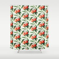peach Shower Curtains featuring Peach by Grace