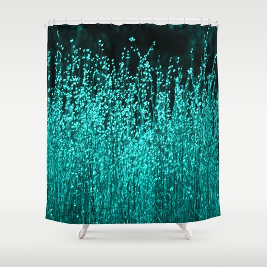 Grasses Aqua 2 Shower Curtain By Veronica Ventress