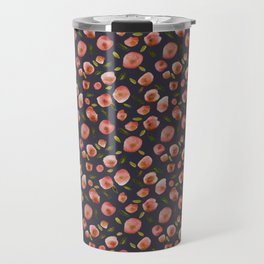 Poppies Hand-Painted Watercolors in Rose Pink on Charcoal Grey Travel Mug
