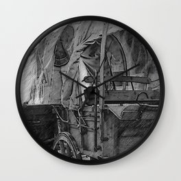 Black And White Sketched Covered wagon Wall Clock