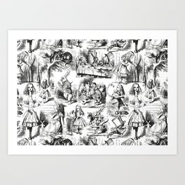 Alice in Wonderland | Toile de Jouy Pattern | Black and White | Vintage Pattern | Victorian Gothic | Kunstdrucke