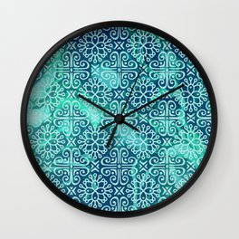 Pattern on greenish blue marble Wall Clock