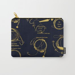 Maritime pattern- Gold fishing gear on darkblue background Carry-All Pouch