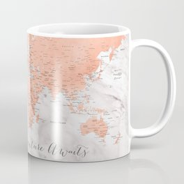 """Adventure awaits world map in rose gold and marble, """"Janine"""" Coffee Mug"""