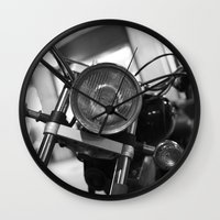 motorcycle Wall Clocks featuring Motorcycle by James Tamim