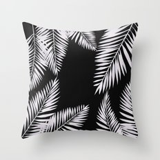Watercolor tropical palm leaves black Throw Pillow