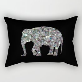 Sparkly colourful silver mosaic Elephant Rectangular Pillow