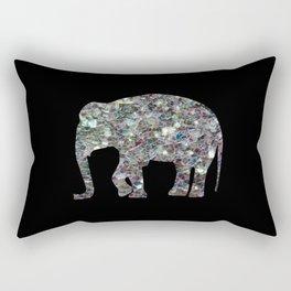 Sparkly colourful silver mosaic Elephant Rectangular Pillow