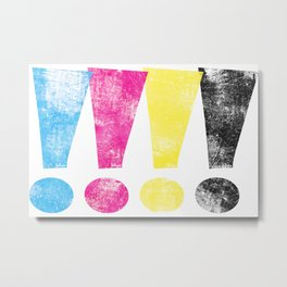 Distrssed CMKY Exclamation Points Metal Print