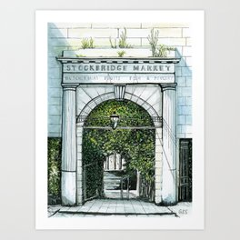 Old Stockbridge Market, Edinburgh Art Print