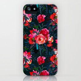 Neon pink fuchsia black watercolor modern floral iPhone Case