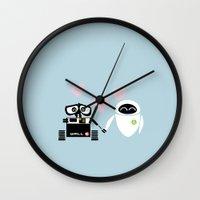 pixar Wall Clocks featuring pixar walle and eve love and romance... minimalistic by studiomarshallarts