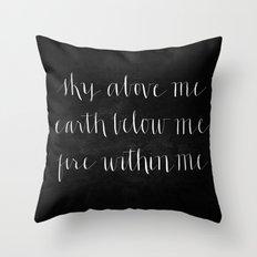 Fire Within Me // White on Black Throw Pillow