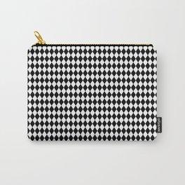 Micro Black & White Mini Diamond Check Board Pattern Carry-All Pouch