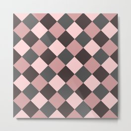 Brown pink plaid Metal Print