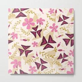 Purple Shamrock Floral Layered Pattern / Cream Metal Print