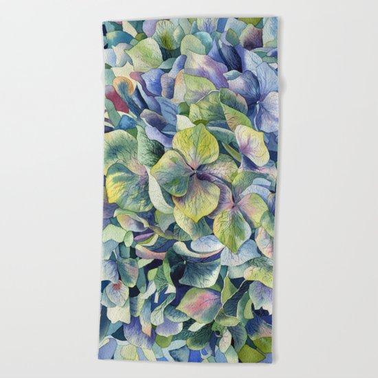 """Forest hydrangea"" Beach Towel"