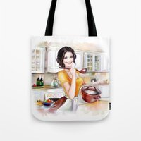cook Tote Bags featuring cook by tatiana-teni