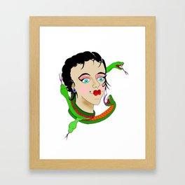 Snake Head Lady Framed Art Print