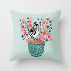 Tea and Flowers - Black and White Warbler by Andrea Lauren Throw Pillow