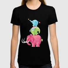 Elephants Black Womens Fitted Tee MEDIUM