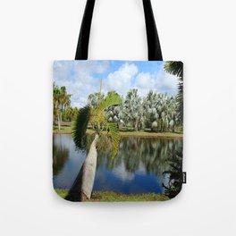Palm Reflection - Tropical Garden Pond Tote Bag
