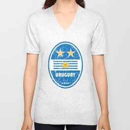 World Cup Football 4/8 - Uruguay (Distressed) Unisex V-Neck