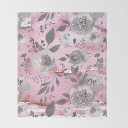 berry juice floral watercolor pink gray Throw Blanket