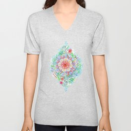 Messy Boho Floral in Rainbow Hues Unisex V-Neck
