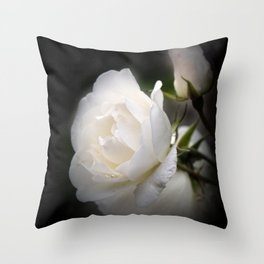 white rose and rosebud on black Throw Pillow