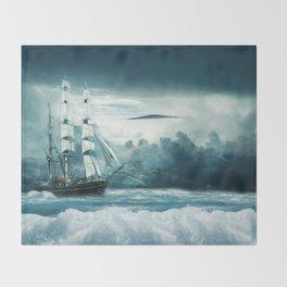 Blue Ocean Ship Storm Clouds Throw Blanket